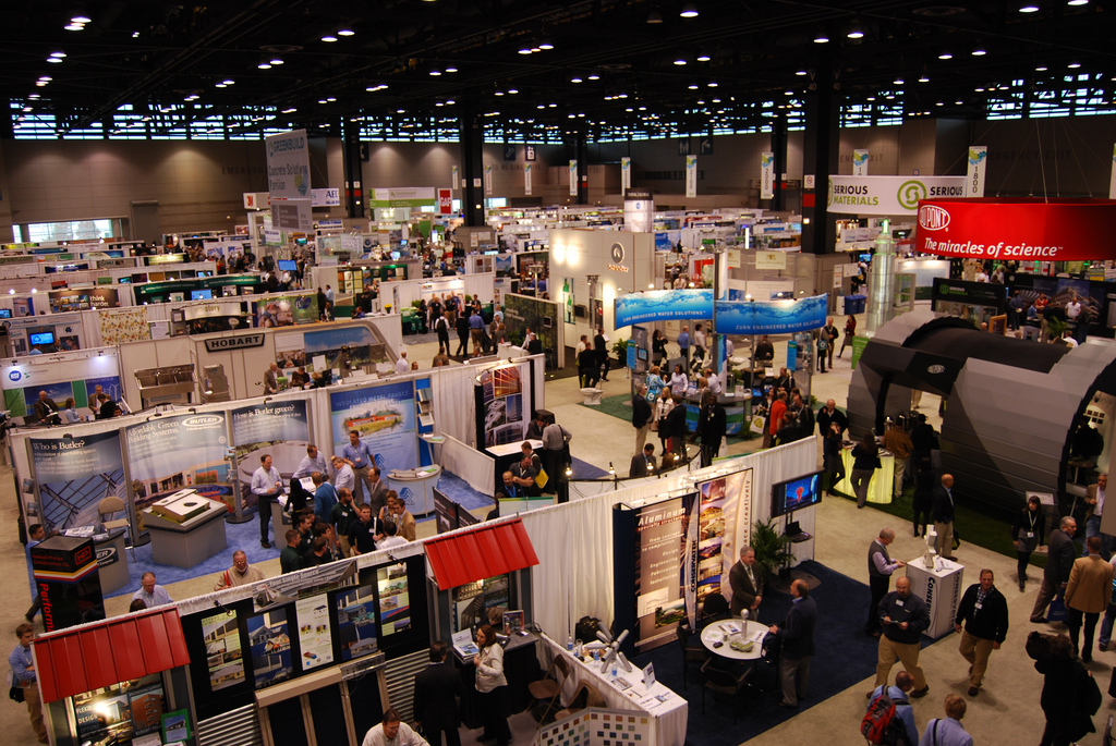 construction trade show in exhibition hall